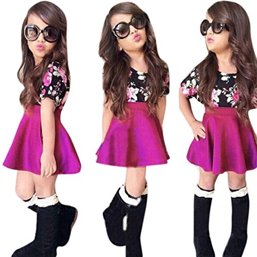 Franterd Baby Girls T-shirt Tops+Floral Short Skirt, Outfit Clothes Set (Purple, 5T)