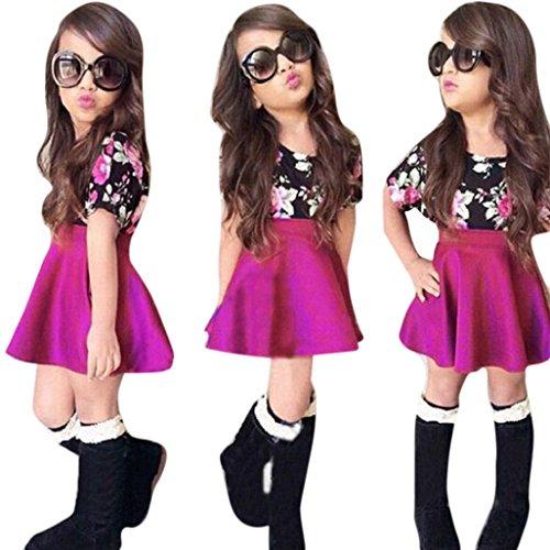Franterd Baby Girls T-shirt Tops+Floral Short Skirt, Outfit Clothes Set (Purple, 12M)