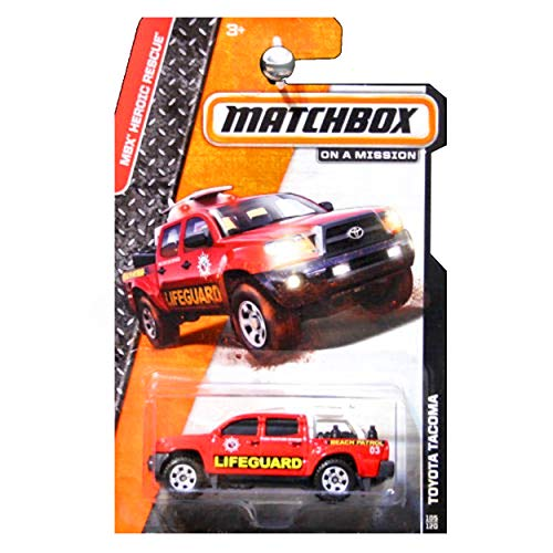 - Matchbox 2014 MBX Heroic Rescue Toyota Tacoma Lifeguard Truck Red