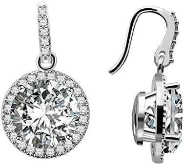 CIShop White Gold Plated Round Shape Cubic Zirconia Diamond Halo Dangle Earrings Hook Earrings