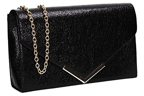 Faux Womens Leather Clutch Crushed Prom SWANKYSWANS Black Bag Averie Party x4qTxw1E
