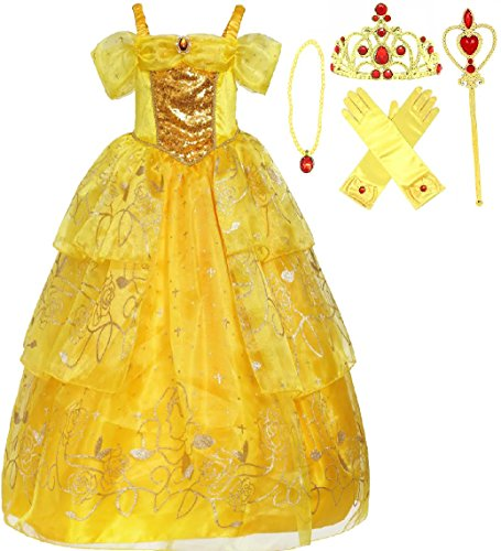Very Special Present Costumes (Romy's Collection Exclusive Princess Belle Yellow Party Costume Deluxe Dress-Up Set (3-4, Yellow 2))
