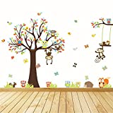 Kids Wall Decal , Anumit Jungle Theme Colorful Owl Monkey Tree Decorative Unisex Wall Sticker 92