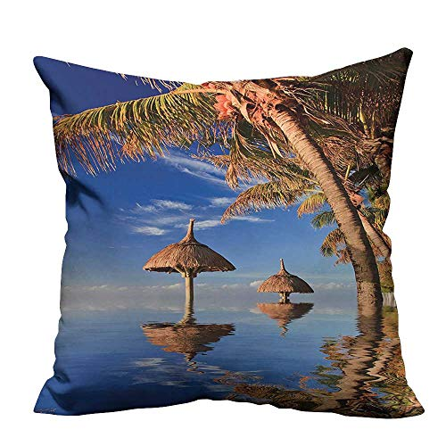 (YouXianHome Modern Fashion Cushion Cover Tropic Palm Trees in Ocean Exotic Skyline Summer Paradise Mauritius Honeymoon Theme Blue Resists Dust Mites(Double-Sided Printing) 35x35 inch )