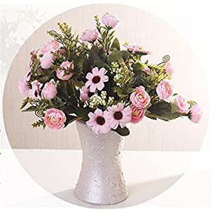 Skyseen 5Pcs Artificial Silk Flowers Camellia Bouquets for Home Decor Party Wedding 13
