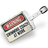 Luggage Tag Warning Swimming Coach At Work Vintage Fun Job Sign - NEONBLOND