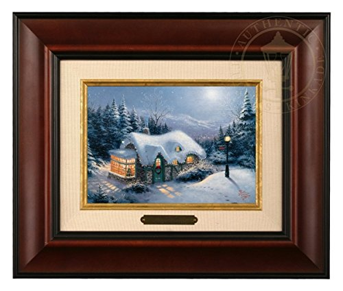 Thomas Kinkade Silent Night Brushwork (Burl Frame)