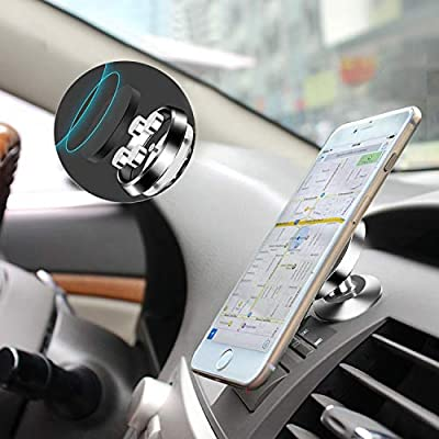 Magnetic Car Phone Holder, Universal Car Phone Mount for Dashboard, 360° Adjustable Cell Phone Cradle Mount Compatible with iPhone, Samsung, LG, GPS