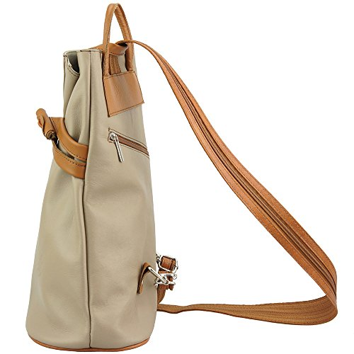 BACKPACK 2062 Light BAG MANY PURSE AND taupe FIORELLA IN WITH POCKETS LEATHER GENUINE tan SHOULDER PPAqr