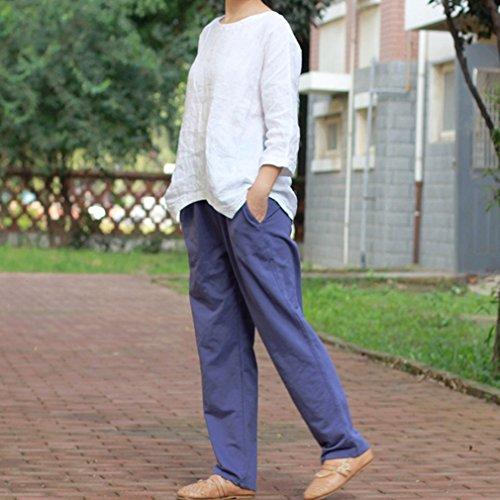 Pantalons Pour Womens Full Harem Length Pantalon Taille Violet D'été Élastiée Casual Femme Laine Hibote wBqgHH