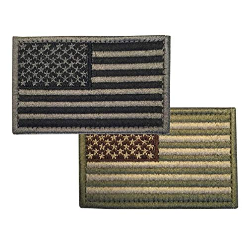 (92 Yankee Supply American Flag Patch, 2 Pack, 1 Subdued Green, 1 Subdued Gray, Hook and Loop Back, 2