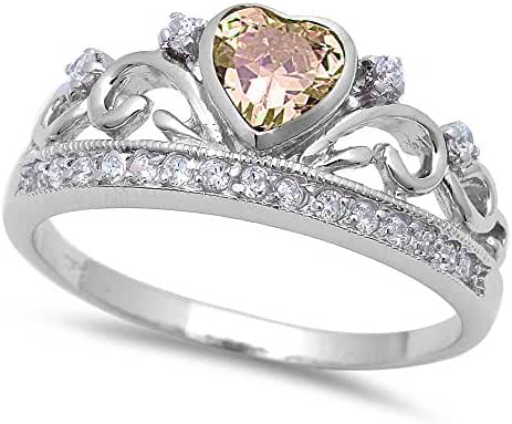 Champagne Cz Heart & Cz Crown .925 Sterling Silver Ring Sizes 4-11