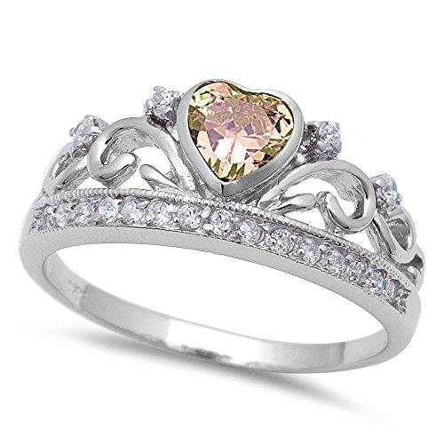 (Oxford Diamond Co BEAUTIFUL CHAMPAGNE CZ HEART & WHITE CZ .925 Sterling Silver Ring SIZE 6)