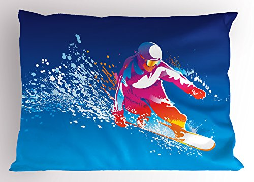 Ambesonne Youth Pillow Sham, Colorful Figure of a Young Man Snowboarding on Blue Background with Paint Splashes, Decorative Standard Size Printed Pillowcase, 26 X 20 Inches, - Snowboarding Standard