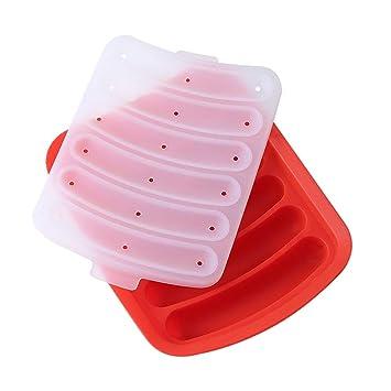 SZRWD Molde de salchicha de silicona, para hacer salchichas caseras, con tapa, apta para microondas, horno, vaporera, frigorífico, color rojo: Amazon.es: ...