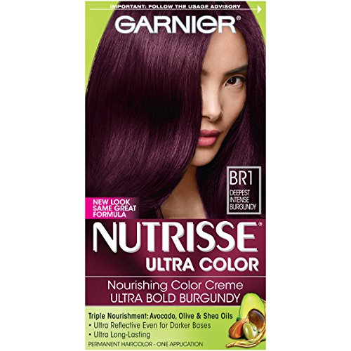 Garnier Nutrisse Ultra Color Nourishing Permanent Hair Color Cream, BR1 Deepest Intense Burgundy (1 Kit) Red Hair Dye (Packaging May Vary)