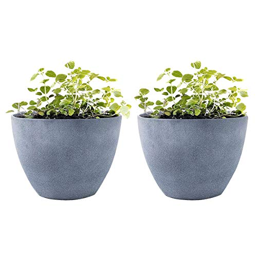 "Flower Pot Garden Planters 12"" - 2 Pack Outdoor Indoor, Unbreakable Resin Plant Containers with Drain Hole, Grey"