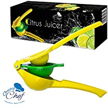 Hand Held Lemon Lime Squeezer: Manual Citrus Press Juicer - Squeeze Juicer for Lemons, Limes and Oranges - Heavy Duty Dishwasher Safe Aluminum - Premium Quality Professional Kitchen Tool by Chuzy Chef