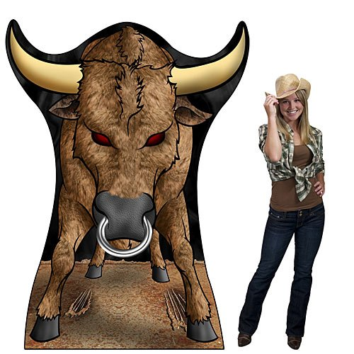 6 ft. 4 in. Western Cowboy Giant Rodeo Bull Standee Standup Photo Booth Prop Background Backdrop Party Decoration Decor Scene Setter Cardboard Cutout ()