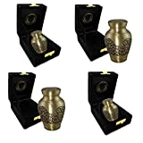 Gold Angelic Embrace Burial or Funeral Adult Cremation Urn for Human Ashes - Ideal for Engraving - Extra Large, Large and Small (Set of 4)