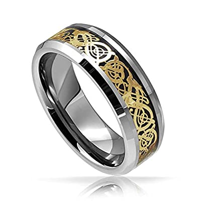 King Will 8mm Tungsten Carbide Ring Celtic Dragon Gold Inlay Comfort Fit Wedding Band Polished Finish