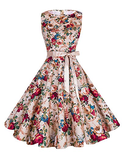 Ruffle Tea Dress (Anni Coco Vintage Cocktail Floral Swing Dresses Party With Ribbon - Khaki Peony F26 Medium)