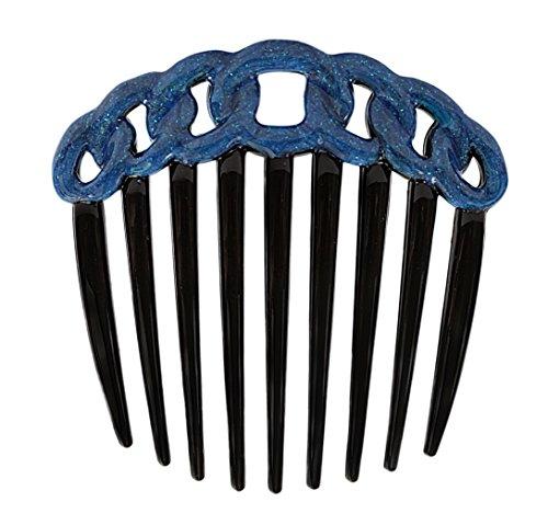 Rope Twist - Caravan French Decorated Black Rope Design Twist Comb, Blue Enamel