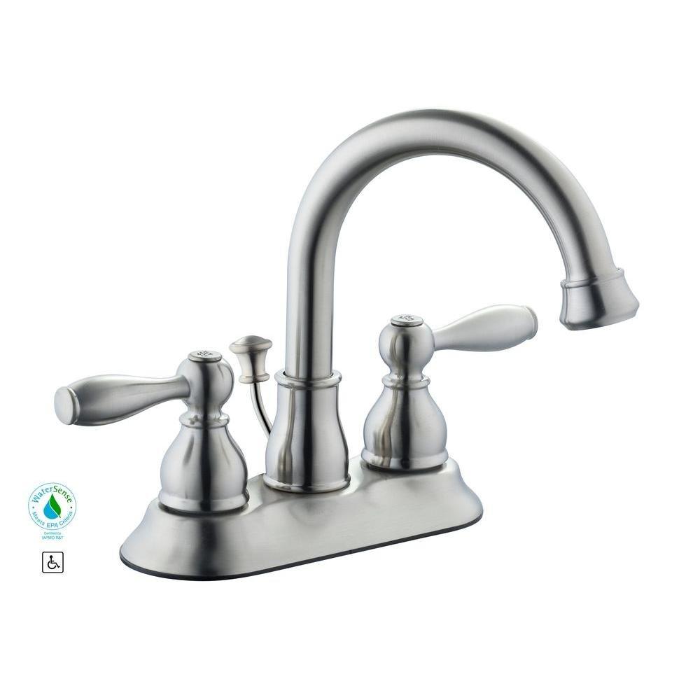 Glacier Bay Mandouri 4 in. 2-Handle High Arc Bathroom Faucet in ...