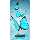 Casotec Flying Butterflies Design Hard Back Case Cover for Sony Xperia C3 Dual