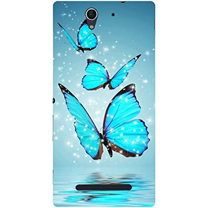 sports shoes 14ed6 b6e93 Casotec Flying Butterflies Design Hard Back Case Cover for Sony Xperia C3  Dual