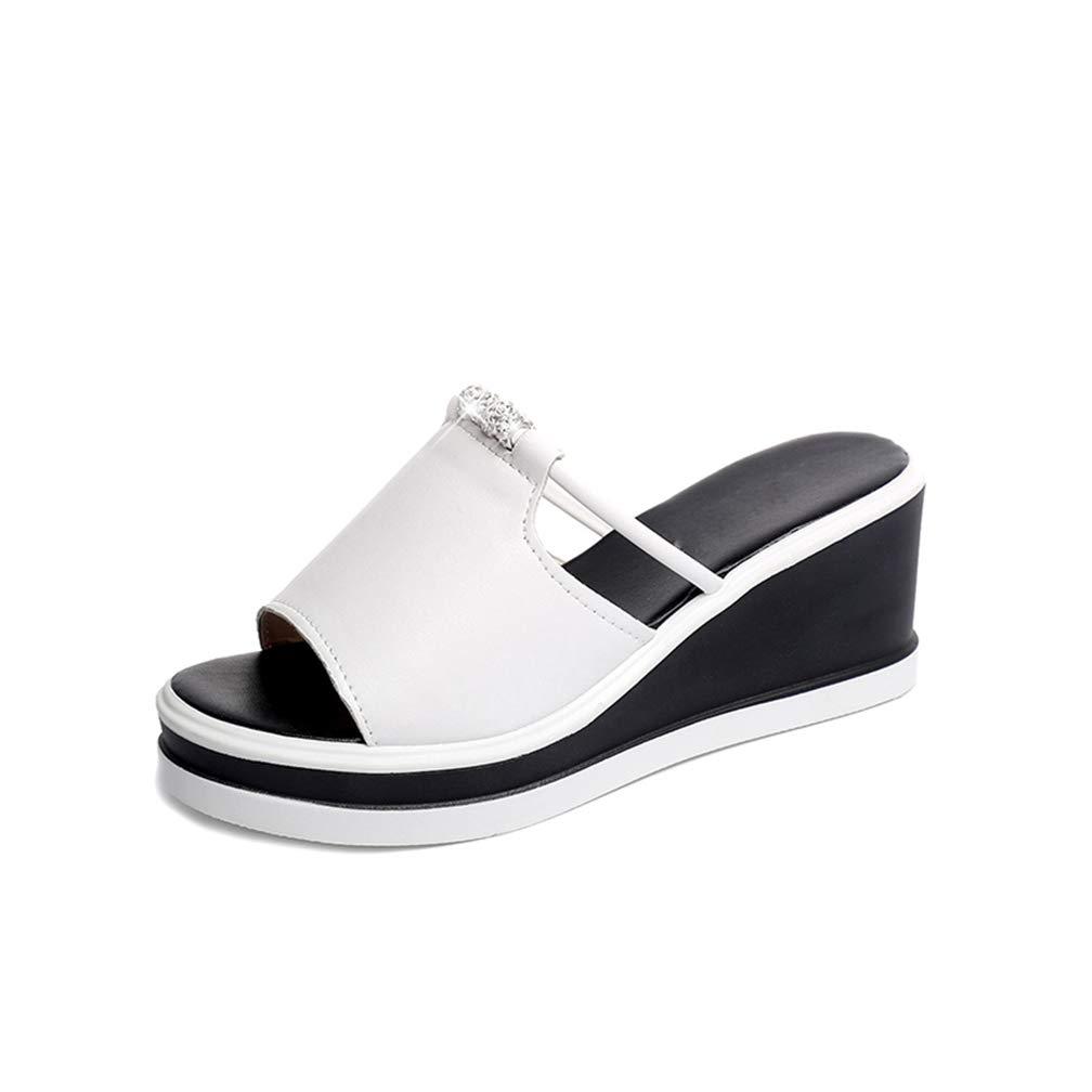 Womens Bling Beads Wedge Platform Sandals High Heel Peep Toe Elegant Female Ladies Mules Clogs Shoes Hoxekle