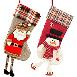 2 PCS Christams Stockings, Lionsoul 3D Large Classic Santa Claus Snowman Christmas Stockings Gift Bags, 18 inch