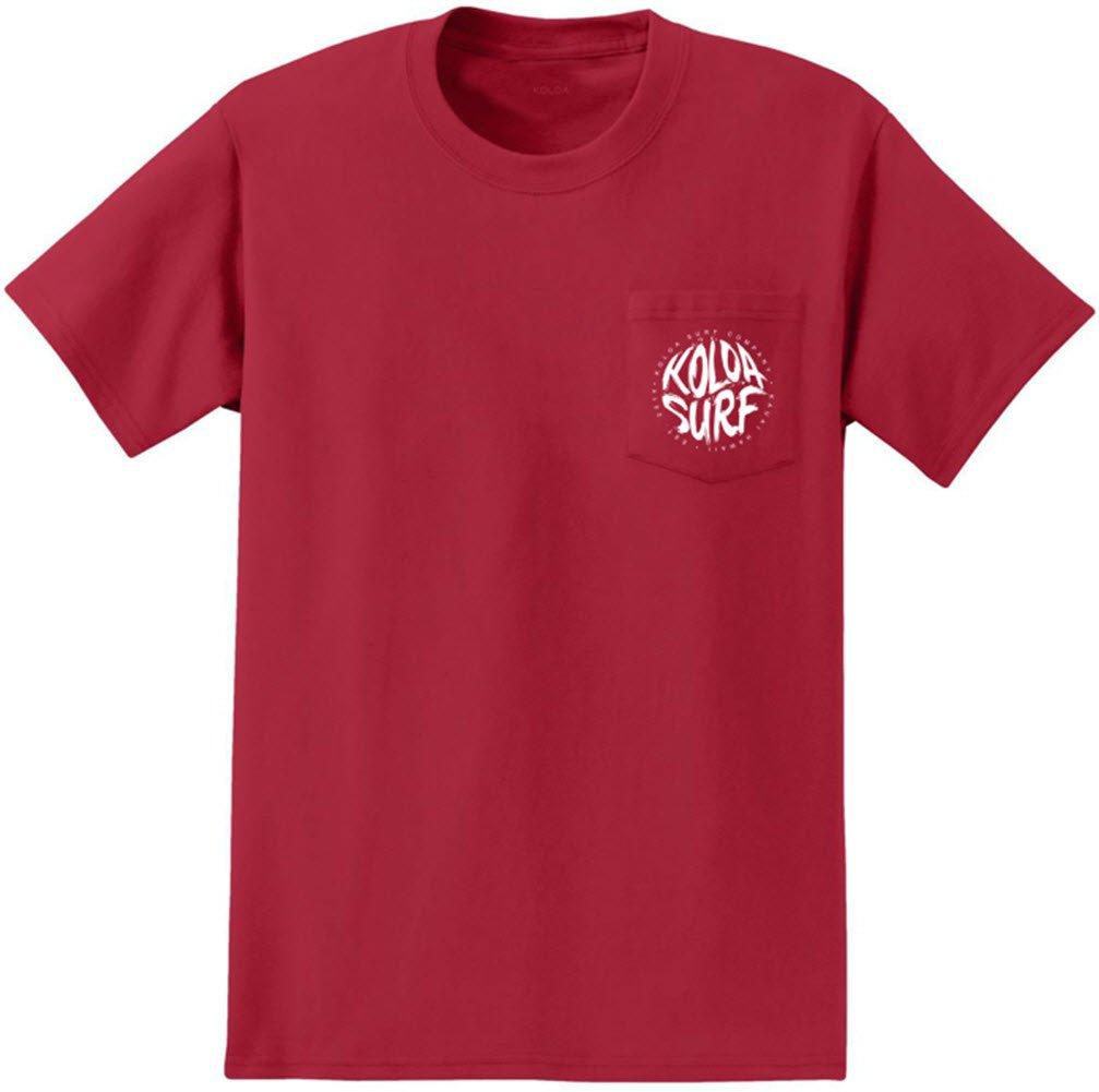 Koloa Surf Pocket Tee Brush Logo Heavyweight Cotton T-Shirt-red/w-S