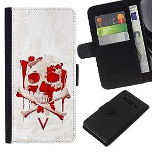 KLONGSHOP // Tirón de la caja Cartera de cuero con ranuras para tarjetas - Vendetta Red Skull V - Samsung Galaxy A3 //