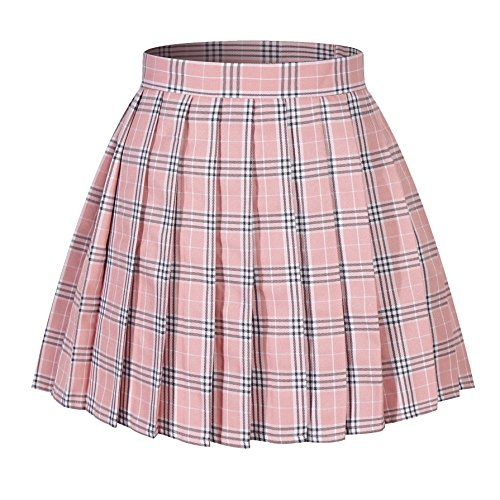 Tartan Plaid Pleated Skirt - Women`s Flared Tartan Check Pleated Skirts(4XL ,Pink Mixed White Black)