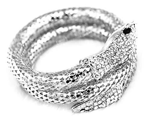Eiffy Punk Rhinestone Curved Stretch Snake Animal Cuff Bangle Bracelet for Women Ladies Wristband Jewelry (Silver)