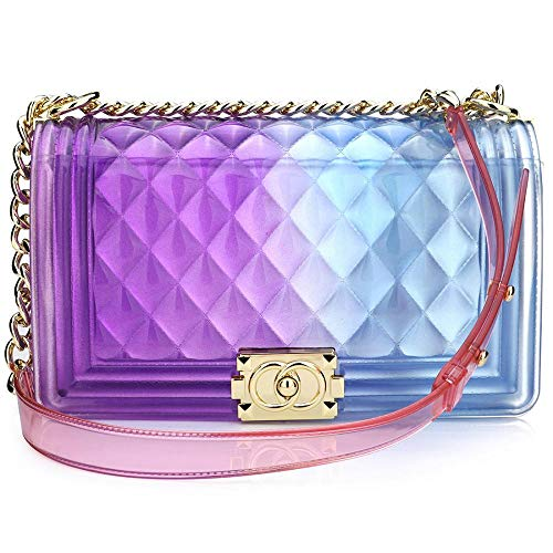 Peudo Women Transparent Jelly Messenger Bag Lady Gradient Candy Color Shoulder Purses Mini Crossbody Bag with Chain (Hyacinthine,Large size -