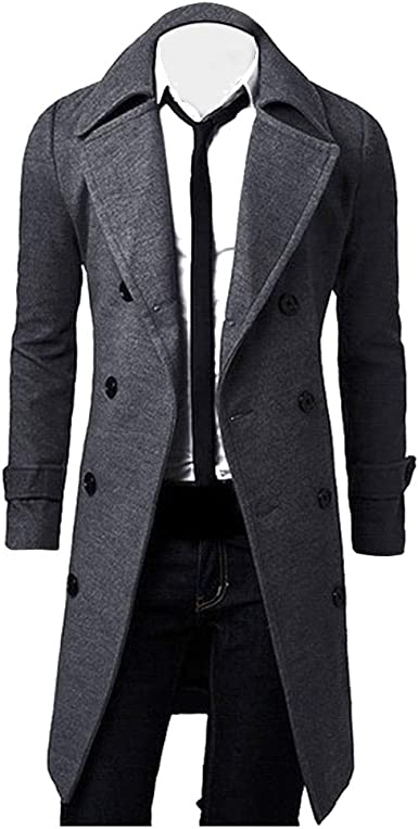 MODOQO Mens Pea Coat Long Windbreak Trench Coat Outwear Lapel Jacket Overcoat