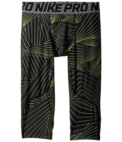 NIKE Pro Boy`s 3/4 Printed Training Leggings (Black (943374-010)/Print Volt/Reflective Silver, Large) -