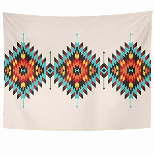 DIYCow Tapestry Wall Decor 80 x 60 Inches Tribal Geometric Border Navajo Pattern Abstract American Design Modern Tapestries Wall Hanging Home Decor for Home Office Bedroom