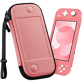 Fintie Carry Case for Nintendo Switch Lite 2019 - [Super Slim] [Shockproof] Hard Shell Protective Cover Travel Bag w/8 Game Card Slots & Hand Strap for Nintendo Switch Lite Console, Living Coral