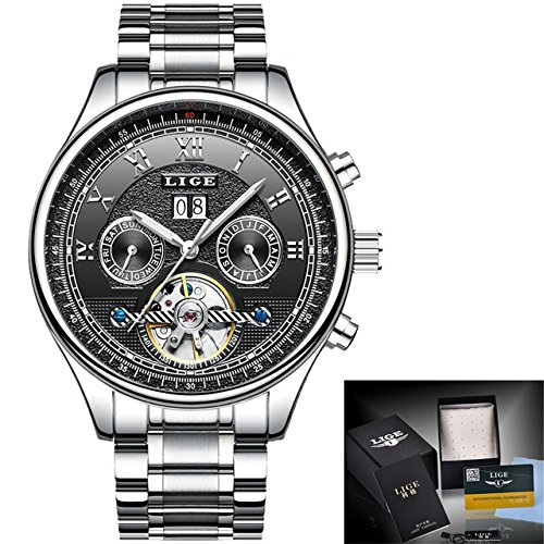 Luxury Brand LIGE Fashion Business Automatic Machinery Watches Men Full Steel Waterproof Watch Man Clock relogio