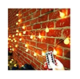 [Updated Version] 33 Feet 80leds Bedroom Globe String LED Lights Battery Powered with Remote Timer Outdoor Indoor Decorations Lighting for Garden, Party, Patio, Living Room (Warm White, Dimmable)