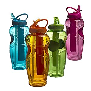 Cool Gear 4-Pack EZ Freeze Plastic Water Bottles with Flip Top Lid & Straw Travel Tumbler, 32 oz