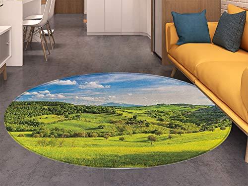 Tuscany Small Round Rug Carpet Tuscany Italy Sunlight Homestead Plantation Farms Pathway Greenery Print Door mat Indoors Bathroom Mats Non Slip Sky Blue Apple Green