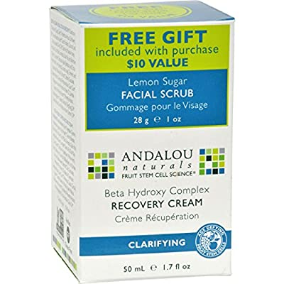 Andalou Naturals Clarifying Clear Overnight Recovery Cream - 1.7 Fl Oz Complete Facial Cleansing Pre-Wet Towelettes Charcoal - 30 Towelette(s) by The Creme Shop (pack of 4)