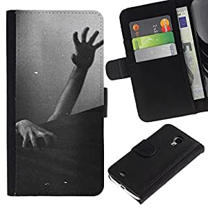A-type (Zombie Dead Black White Halloween) Colorida Impresión Funda Cuero Monedero Caja Bolsa Cubierta Caja Piel Card Slots Para Samsung Galaxy S4 Mini i9190 (NOT S4)