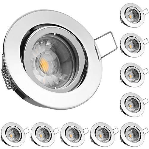 10er LED Einbaustrahler Set Chrom mit COB LED GU10 Markenstrahler von LEDANDO - 5W DIMMBAR - schwenkbar - warmweiss - 40° Abstrahlwinkel ähnlich Halogen - A+ - 50W Ersatz - LED Einbauleuchte 5 Watt