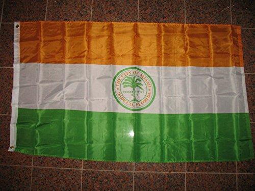 3X5 City Of Miami Florida Dade County Flag 3'X5' Banner Brass - Sunrise Map Miami