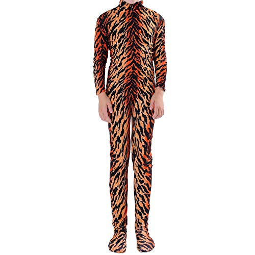 (Muka Adult & Kid Zentai Unitard Bodysuit Halloween Costume Catsuit Dancewear-Tiger-Kid)